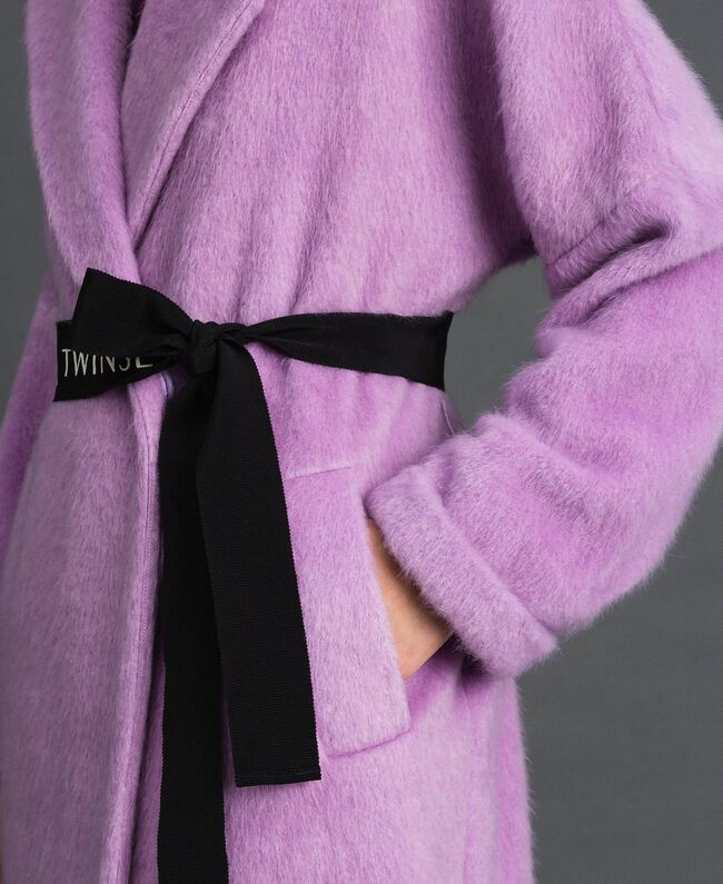 "Double breasted coat with lapels and belt ""Wisteria"" Purple Woman 192ST2180-05"