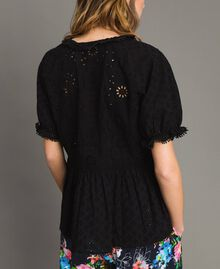 Broderie anglaise blouse with flounce and scallops Black Woman 191MT2031-04