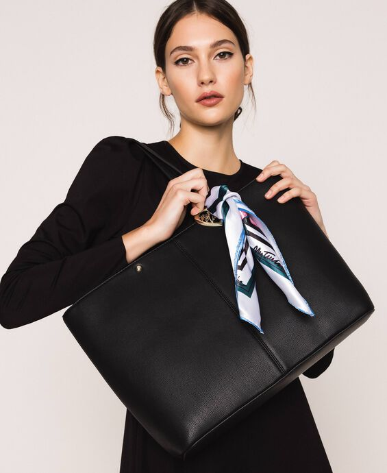 Faux leather shopper with scarf