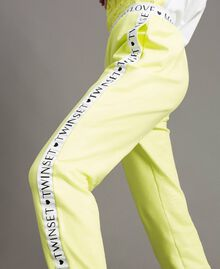"Fleece trousers with branded trims ""Lemon Juice"" Yellow Woman 191LL28FF-04"