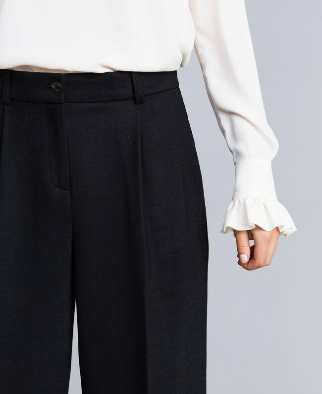 Pantalon palazzo en laine bi-stretch Noir Femme TA8272-04