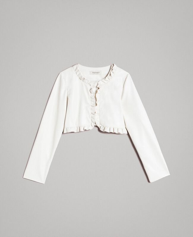Faux leather cropped jacket Pale Cream Child 191GJ2500-01