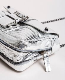 Laminated leather Rebel shoulder bag Silver Woman 191TO8640-03