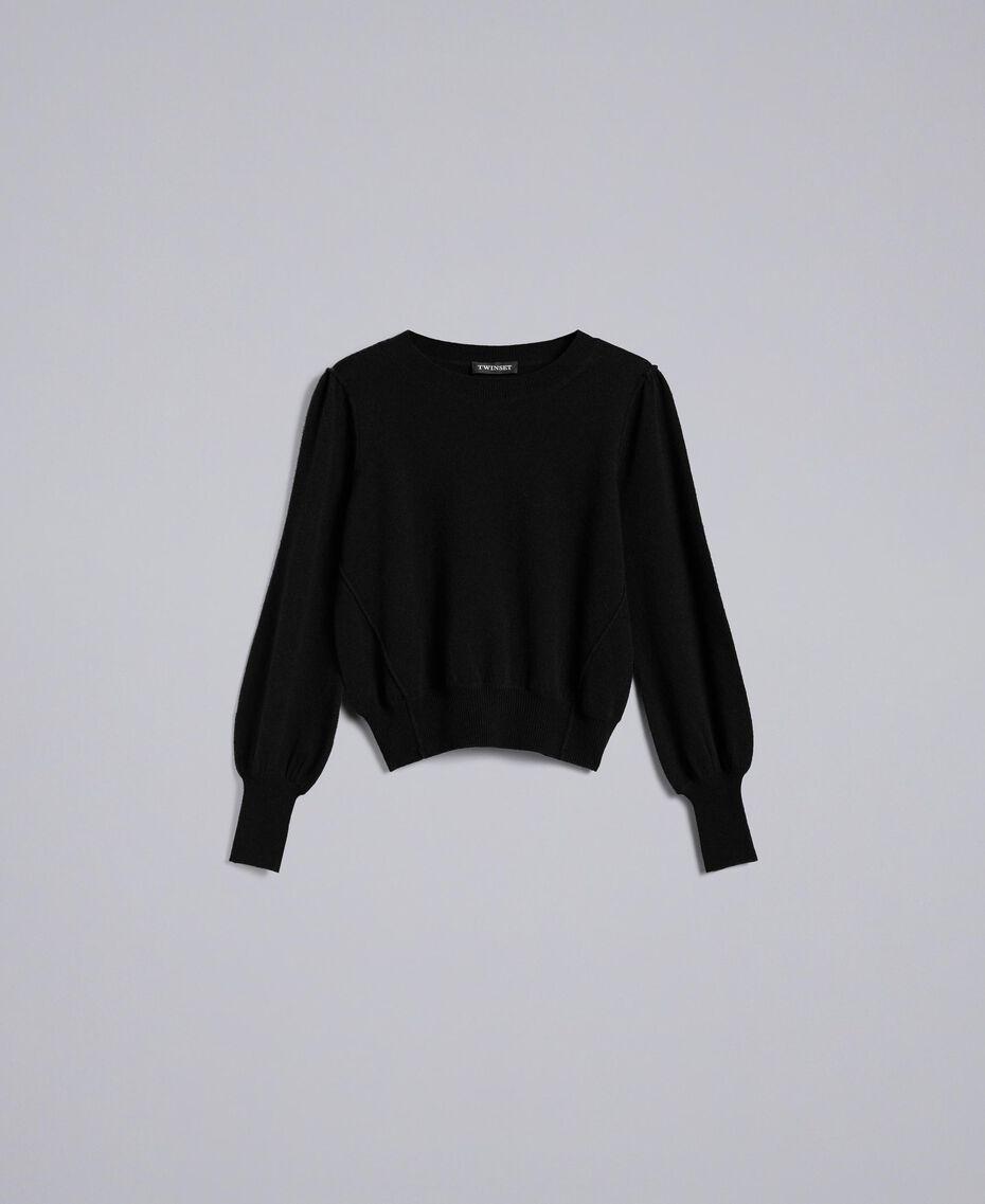 Pullover aus Wolle und Kaschmir mit kastigem Schnitt Schwarz Frau TA83AD-0S