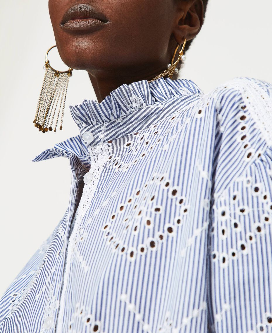 "Poplin shirt with broderie anglaise ""Snow"" White / ""Indigo"" Blue Stripe Broderie Anglaise Woman 211TT2412-03"