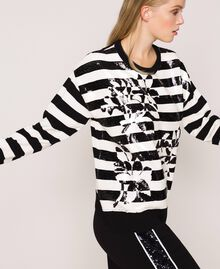 "Full sequin striped jumper Black / ""Snow"" White Stripes Woman 201TP3172-02"