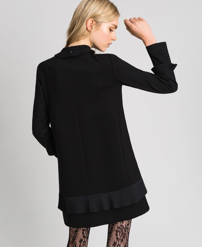 Coat with pleated detail Black Woman 192TT2060-03