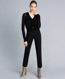 Cardigan en laine mélangée avec mélange de points Noir Femme PA83C2-02