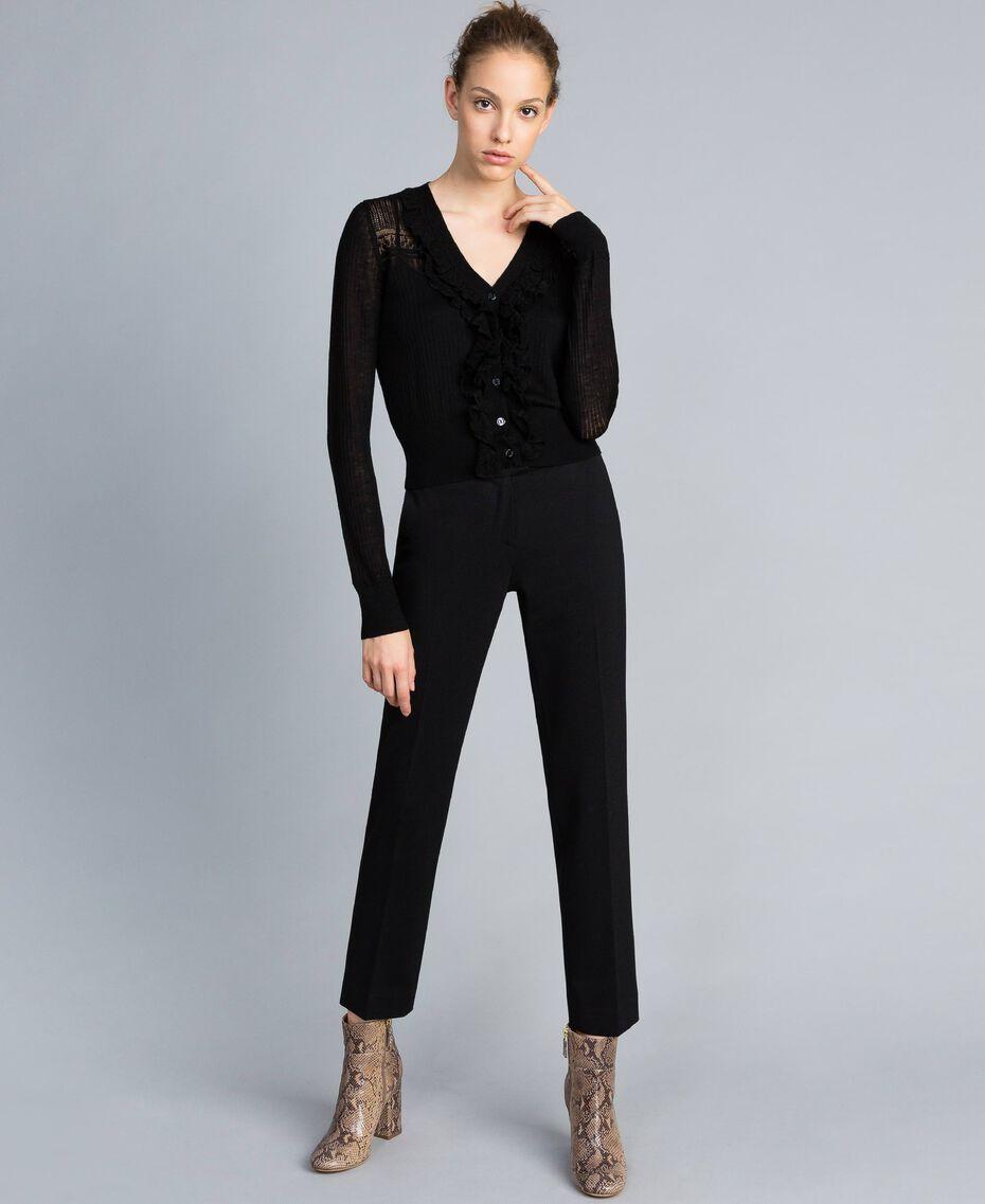 Cardigan in misto lana con mix di punti Nero Donna PA83C2-02