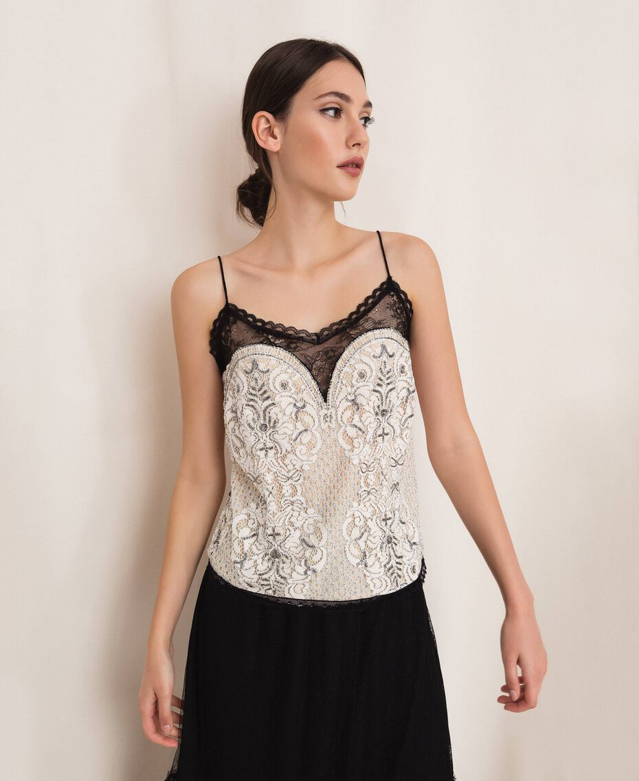 Lace top with embroidery Ivory Woman 201TP2461-01
