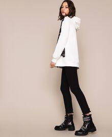 Maxi sweat-shirt avec dentelle Bicolore Lis/ Noir Femme 201MP2141-05
