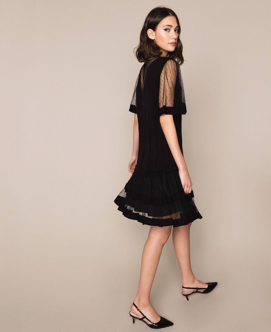 Платье из крепдешина и тюля плюмети Черный женщина 201TP2371-02