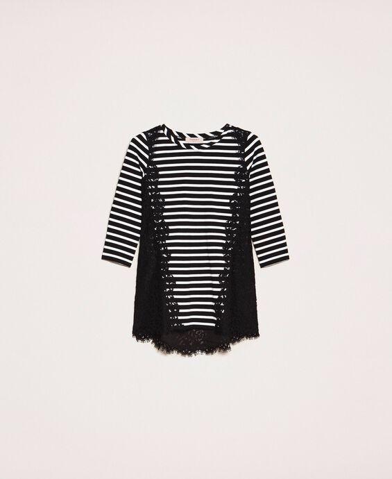 Striped maxi T-shirt with macramé lace