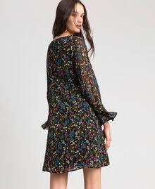 Kleid mit Blumenprint Mikroblumenprint Schwarz Frau 192MP2228-03