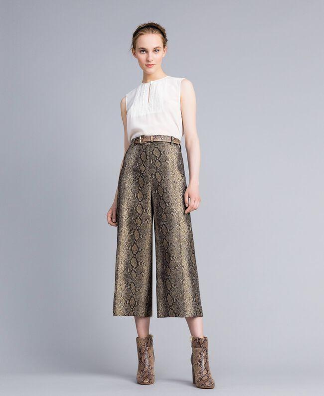 Animal print cropped trousers Camel Snake Jacquard Woman PA828P-01