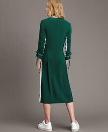 "Mid-length two-colour dress Two-tone ""Evergreen"" Green / Silk White Woman 191TP2325-03"