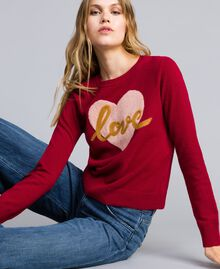 "Wool blend jumper with heart ""Dark Raspberry"" Red Needle Punch Embroidery Woman TA83JE-01"