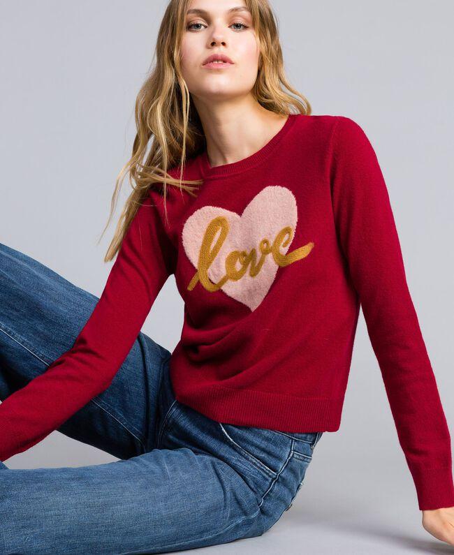 Pullover aus Wollmischung mit Herz 3D-Stickerei dunkles Himbeerrot Frau TA83JE-01
