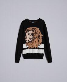 Wool blend oversized jumper Black Man UA83H2-0S