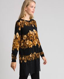 Maxi maglia in lana stampata con pizzo Stampa Mix Righe Fiore Barocco Nero Donna 192TT3342-03