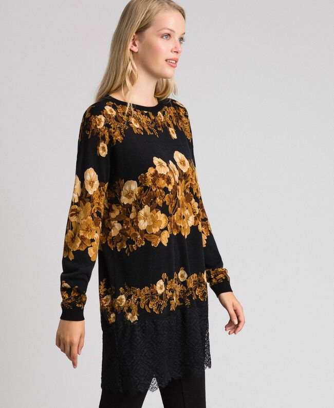 Printed wool maxi jumper with lace Black Baroque Flower Stripes Mix Print Woman 192TT3342-03
