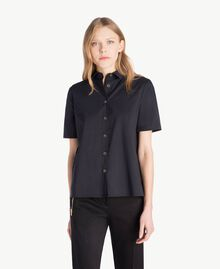 Poplin shirt Black Woman TS82ZD-01