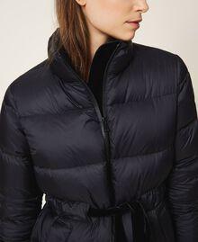 Long puffer jacket with velvet drawstring Black Woman 202MP2541-05