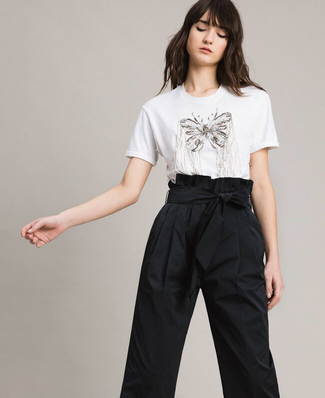 Butterfly embroidery and fringe T-shirt White Woman 191TP2600-01