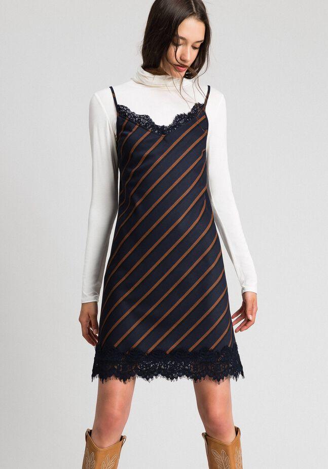 Pin stripe slip dress with lace