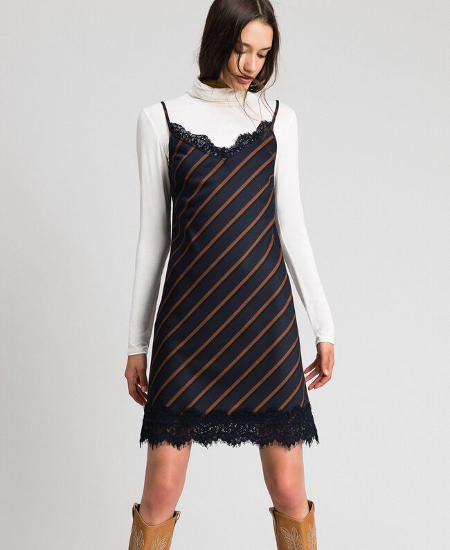 Pin stripe slip dress with lace Night Blue Striped / Red Earth Woman 192ST2234-01