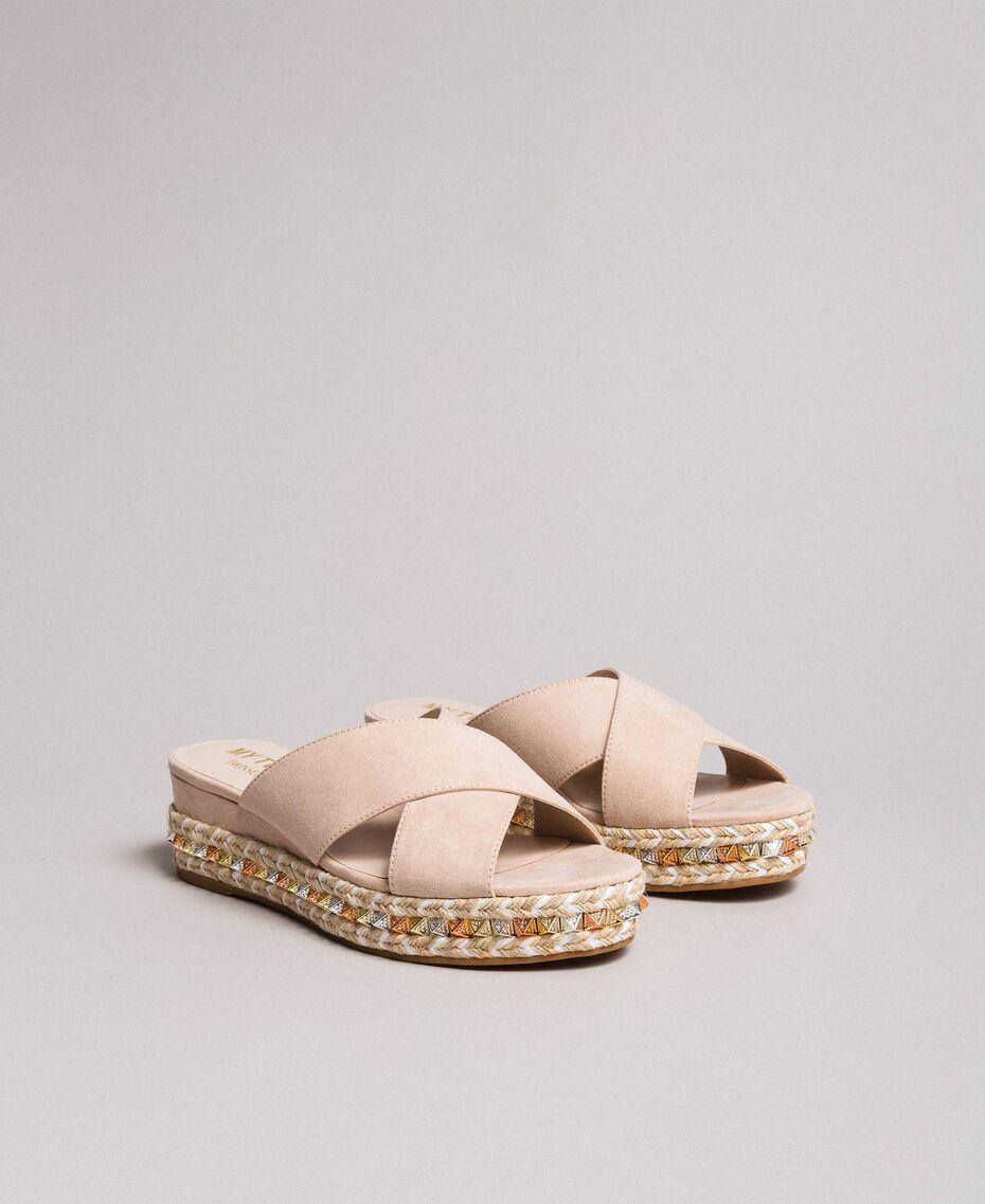 """Sandales en daim avec clous """"Rose Surréel"""" Femme 191MCP136-01"""