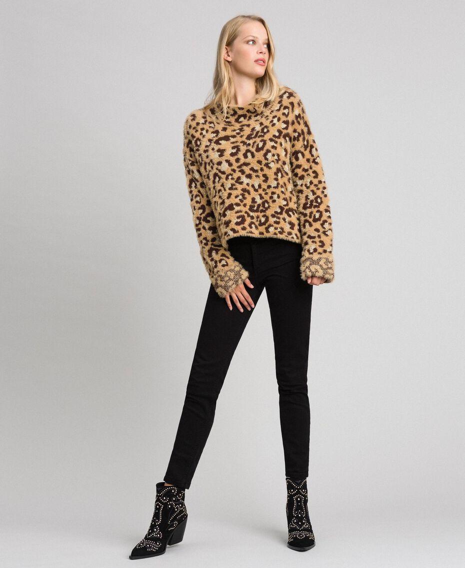 Animal print jacquard jumper with lurex Leopard Print Jacquard Woman 192TT3261-05
