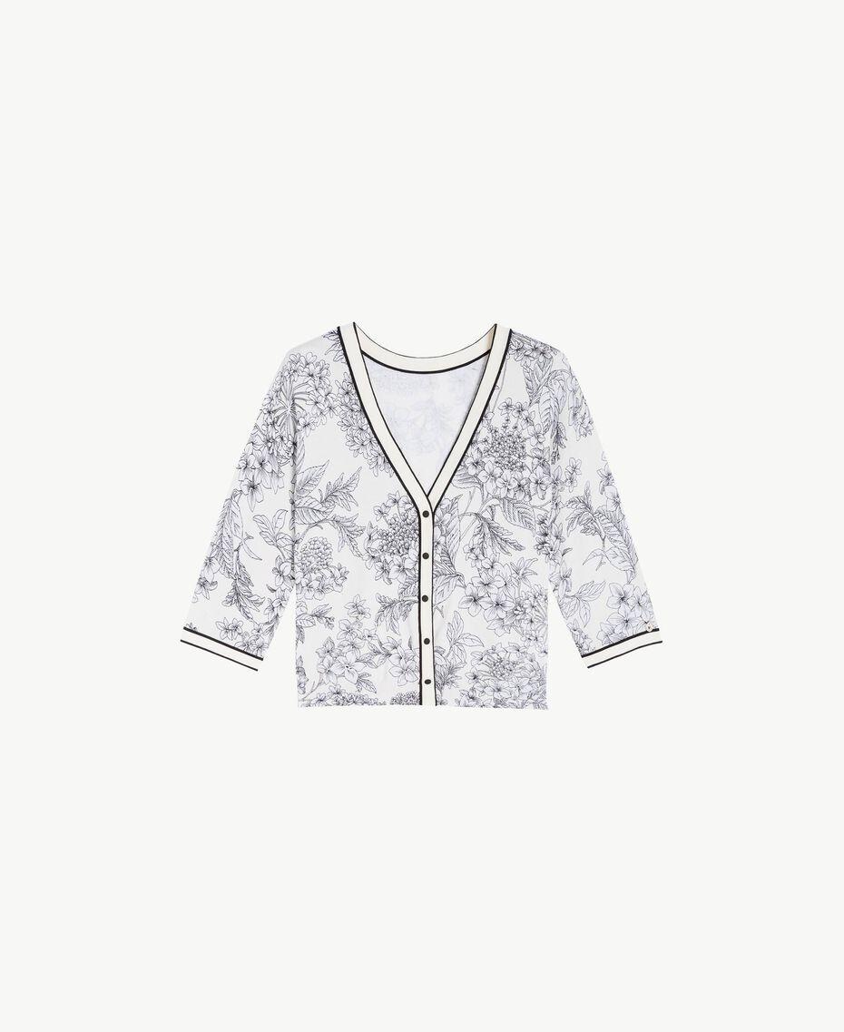 Cardigan imprimé Imprimé Grande Fleur Blanc Optique Femme LS8DEE-01