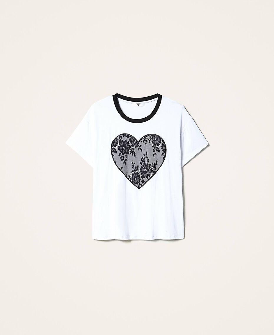 Camiseta con corazón de encaje Blanco Mujer 202LI2NAA-0S