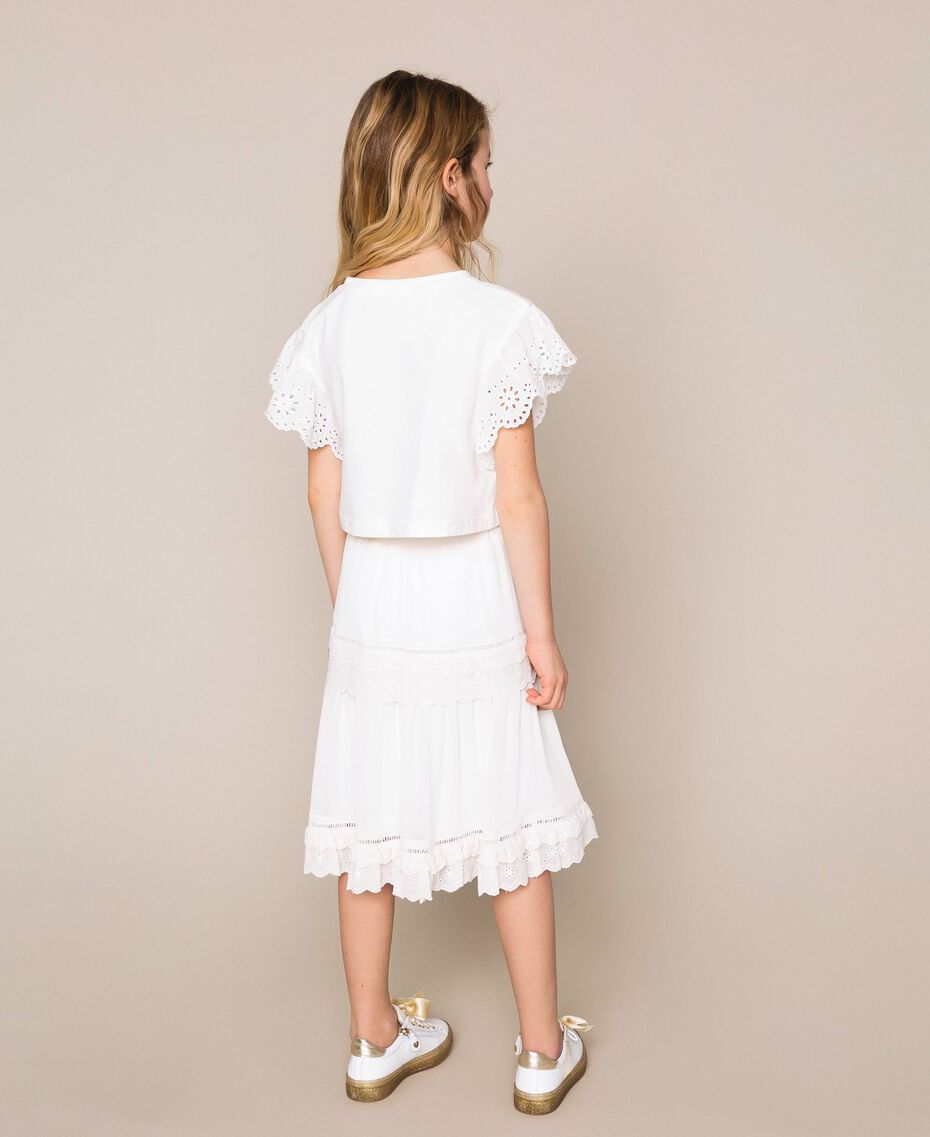 Creponne skirt with broderie anglaise Off White Child 201GJ2462-03
