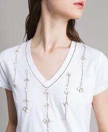 T-shirt avec pierres et strass Blanc Femme 191MT241G-01
