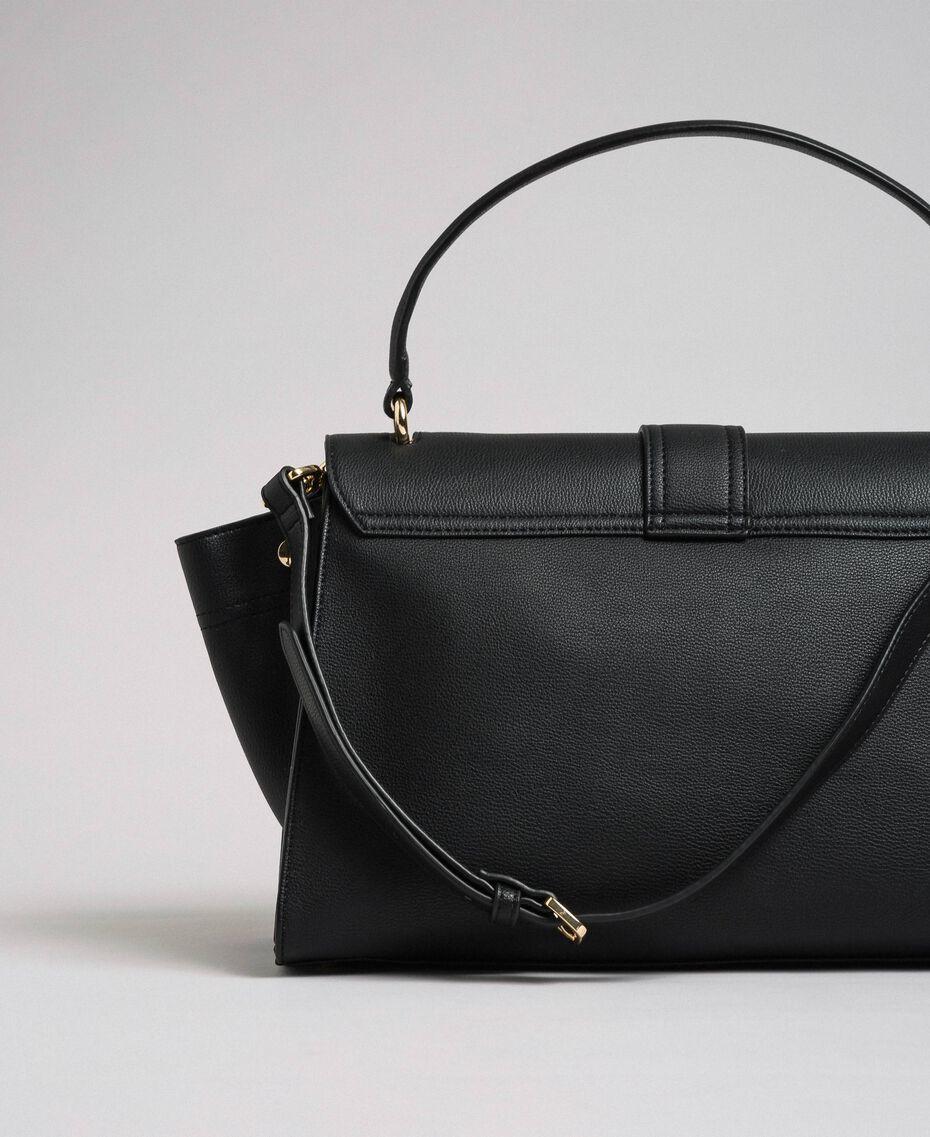 Faux leather satchel bag with flap Black Woman 192TA7130-02