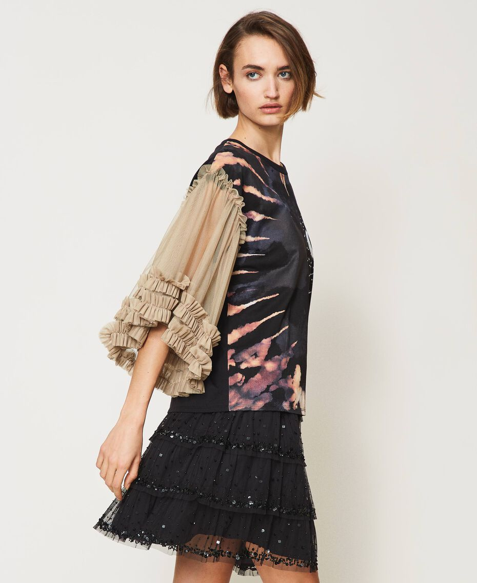 """T-shirt with print and tulle sleeves Two-tone Black / """"Biscuit"""" Brown Moon Print Woman 211MT2491-03"""