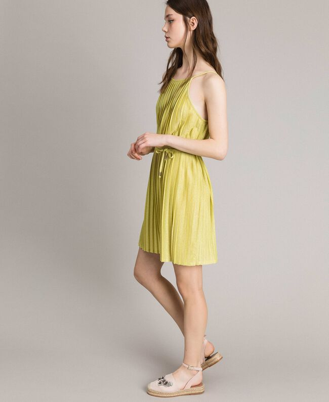 "Pleated lurex dress ""Lemon Juice"" Yellow Woman 191LB23FF-01"