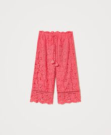 "Pantaloni cropped in pizzo macramè Rosa ""Cherry Pink"" Donna 211LM2KMM-0S"