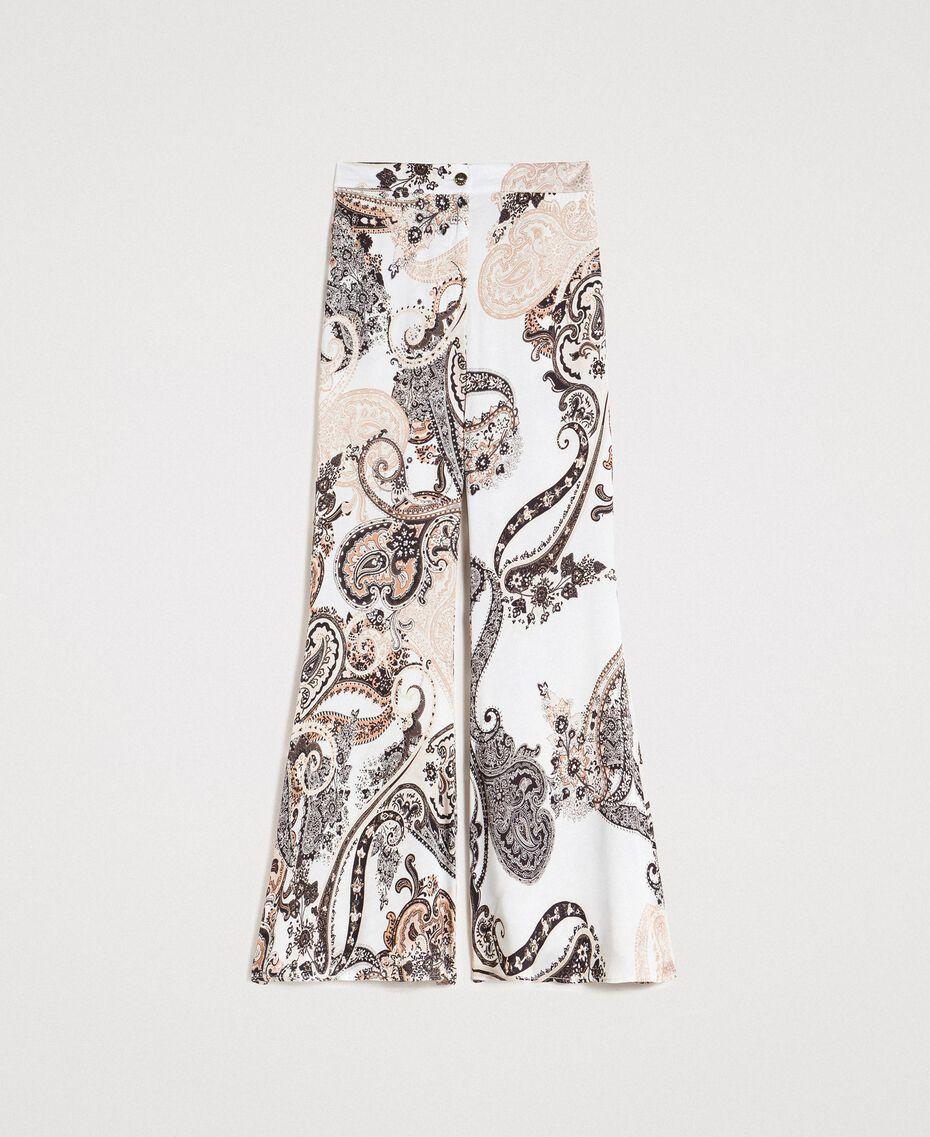 "Paisley print palazzo trousers ""Milkyway"" Beige / Paisley Print Woman 191LM2SAA-0S"