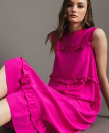 "Ruched georgette long dress ""Electric Pink"" Fuchsia Woman 191TP2323-05"