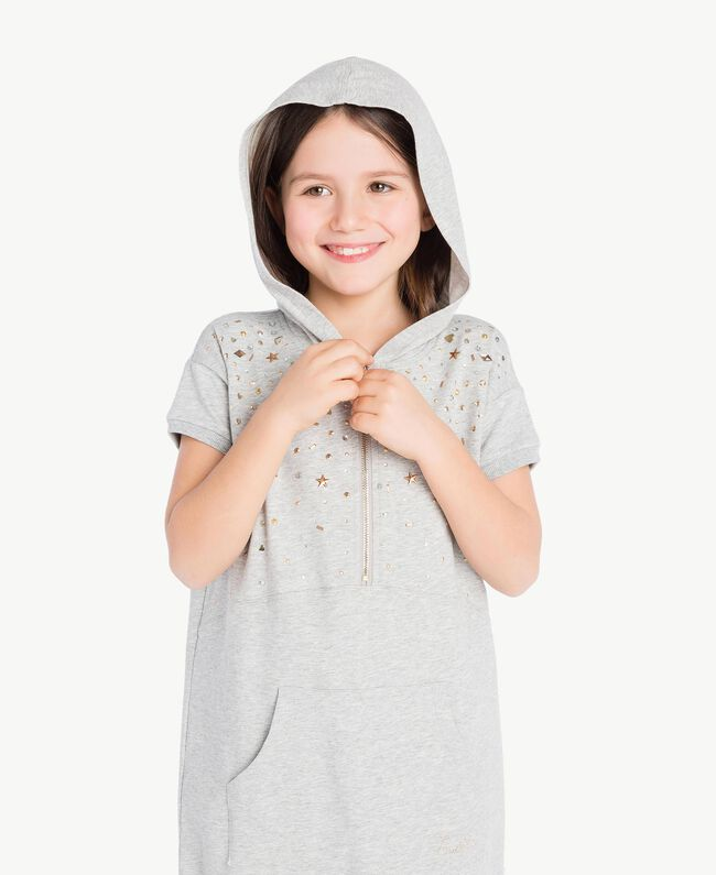 Kleid mit Nieten Hellgrau-Mélange Kind GS82G1-05