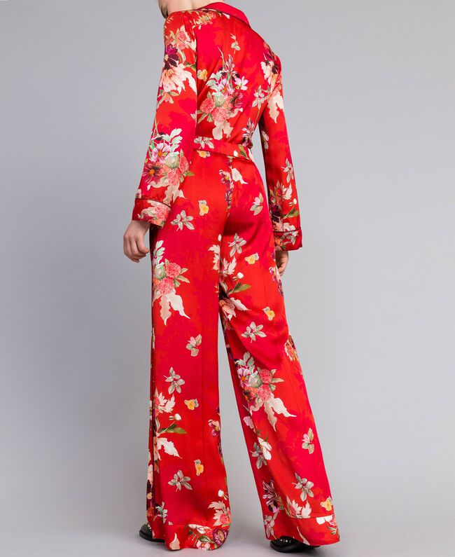 Pantalon palazzo en satin floral Imprimé Jardin Rouge Femme PA829Q-03
