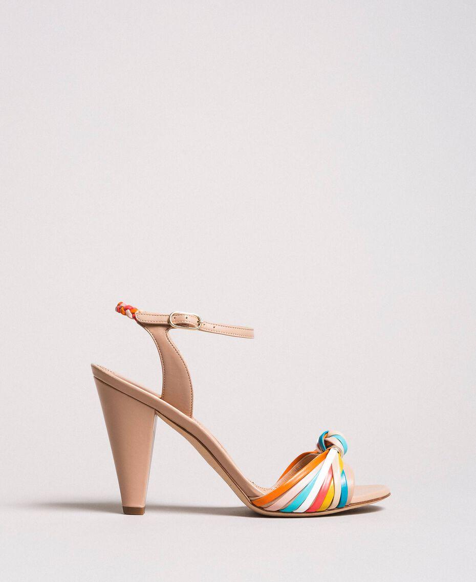 Zweifarbige Leder-Sandalen Nudebeige Frau 191TCT018-03