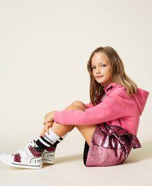 Sneakers de piel con animal print Bicolor Blanco / Estampado Maculado Carmine Rose Niño 212GCJ042-0S