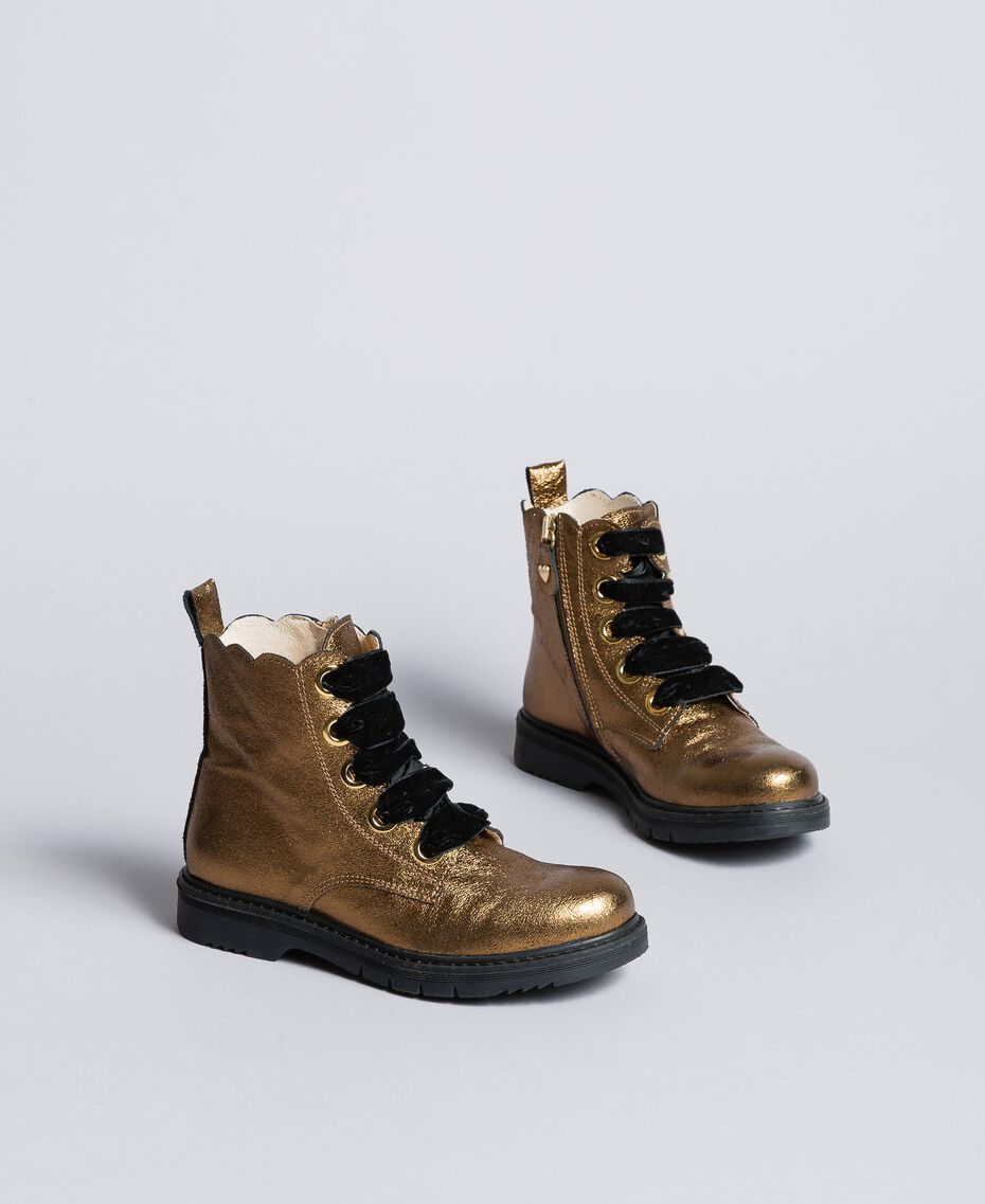 Bottines en cuir avec feston Marron Caramel Enfant HA88CE-02