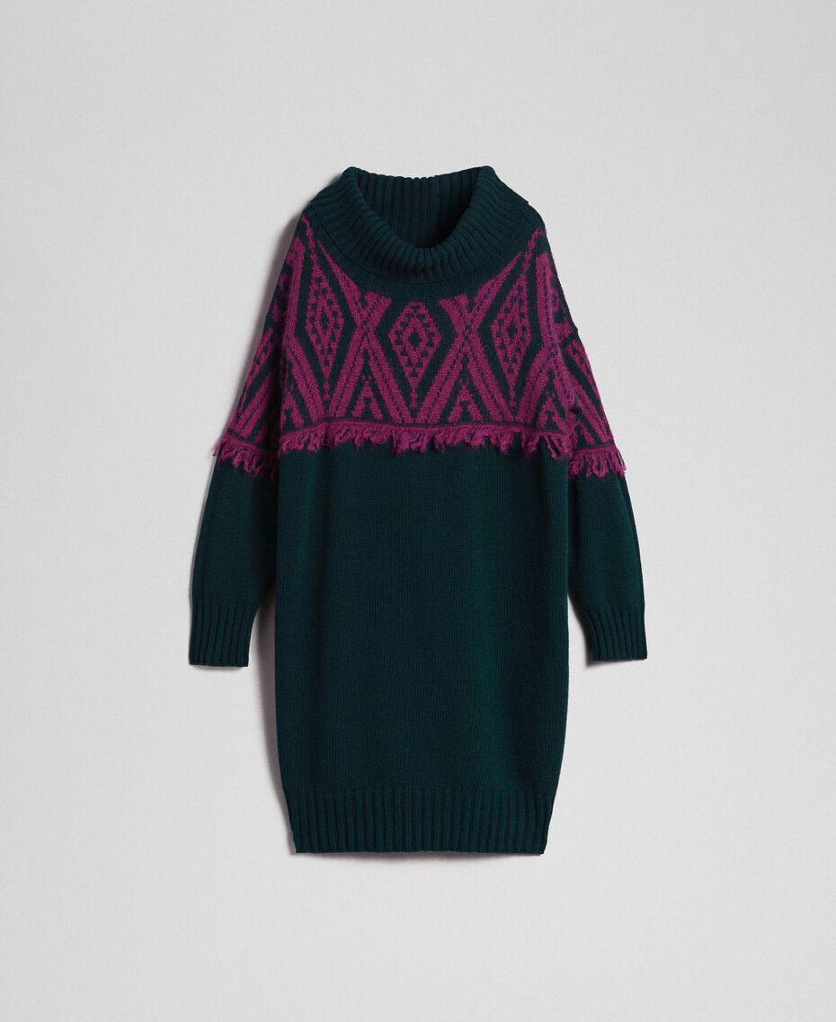 Jacquard knit dress with ethnic motif Ethnic Dark Green / Beet Red Jacquard Woman 192TP3041-0S