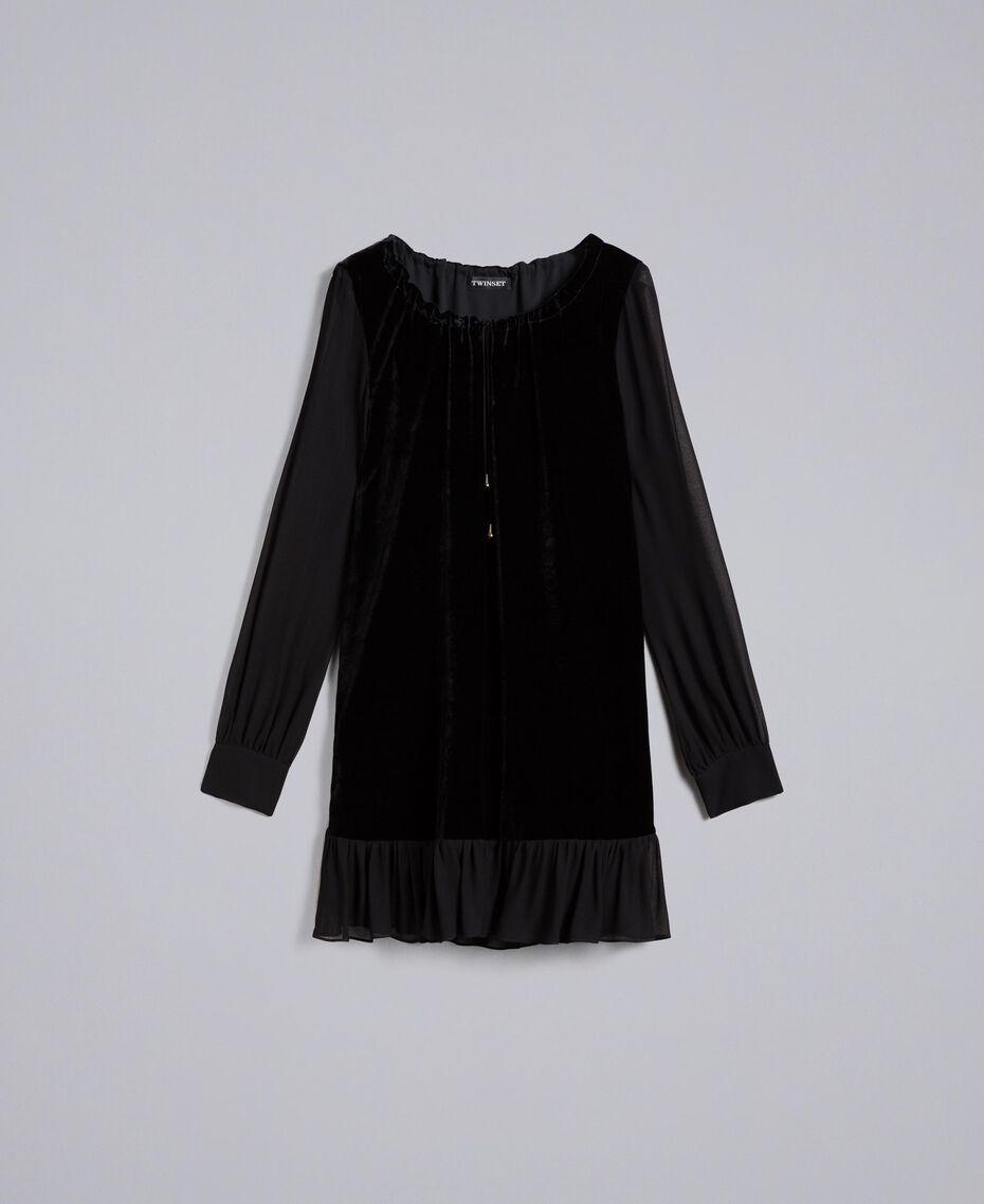 Robe en velours et crêpe georgette Noir Femme PA823A-0S