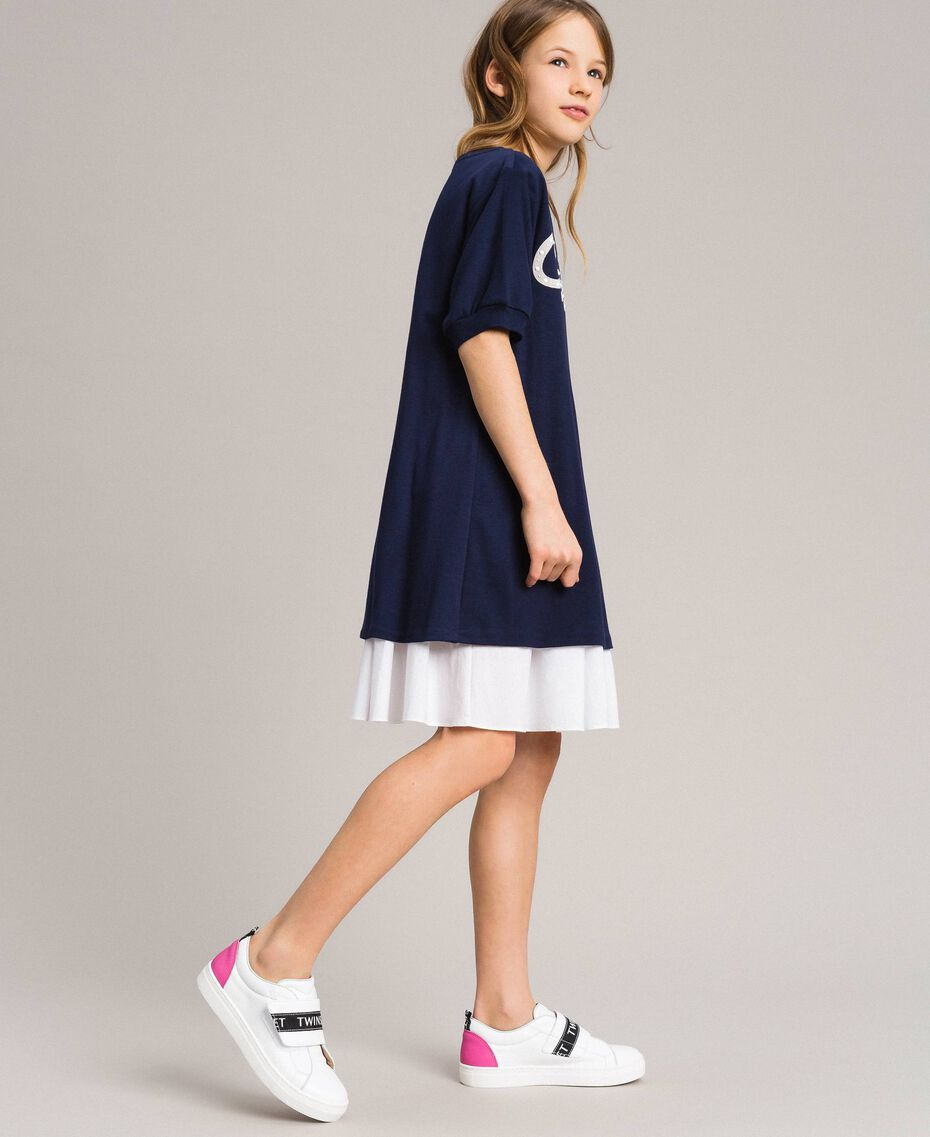 Milan stitch dress with poplin flounce Two-tone Indigo / Optical White Child 191GJ2211-02